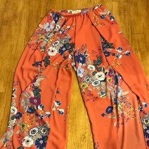Floral Thigh High Slit Pants